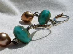 Golden Water earrings - Czech glass and pearls - by Janet Bocciardi, Honey from the Bee