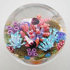 Glass Jellyfish Paperweight | Cathy Richardson Paperweight: Purple Jellyfish & Soft Coral