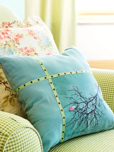 Transferable Pattern Pillow - No motif is too intricate for your pillow. This pretty tree design was applied using transferable ink-jet printer paper. The process may cause a slight color change in the fabric. Add ribbon to mask the variation.