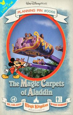 Walt Disney World Planning Pins: Fly high over Agrabah on a magic carpet around a giant genie lamp.