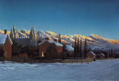 This image presents an 1893 view of the Salt Lake Valley from the present day location of West High (approximately 200 North and 300 West). Utah Temples, Lds Temples, Lds Art, Watercolor Sunset, Salt Lake City, Present Day, Art Images, Fine Art, Presents