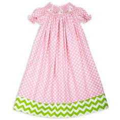 Swoon! Love this Light Pink Lime Chevron Band Bunnies Smocked Bi... I discovered at lollywollydoodle.com and for only $38! Click the image above to get a $5 off coupon code for your next order!