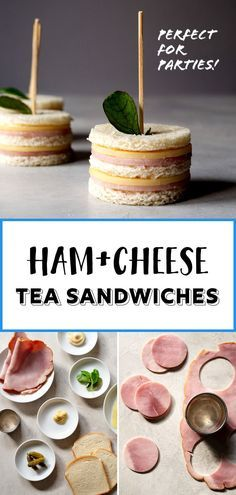 ham and cheese sandwiches. A perfect finger food for afternoon tea, parties, and snack time! Two bites and they're gone.Totally cute ham and cheese sandwiches. A perfect finger food for afternoon tea, parties, and snack time! Two bites and they're gone. Snacks Für Party, Appetizers For Party, Shower Appetizers, Tea Time Snacks, Finger Food Appetizers, Party Hats, Tea Party Sandwiches, Ham Cheese Sandwiches, Bridal Shower Sandwiches