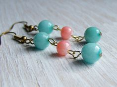 Turquoise and coral color block earrings beaded by NestBirdDesigns,