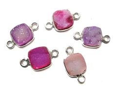 925 Sterling Silver Bezel druzy Connectors  fine by finegemstone, $20.00