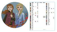 ELSA E ANNA - FROZEN 2 SCHEMA PUNTO CROCE Cross Stitch Charts, Cross Stitch Patterns, Crochet Crafts, Knit Crochet, Frozen Characters, Anna Frozen, Flower Crafts, Hobbit, Cross Stitching