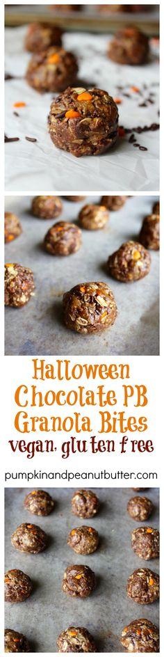 Halloween Chocolate PB Granola Bites // pumpkin & peanut butter @ ...