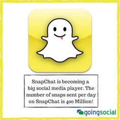 #SnapChat is becoming a big social media player. The number of snaps sent per day on SnapChat is 400 Million!  #socialmedia