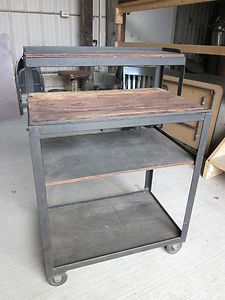 "Vintage Industrial Wood and Metal Rolling Cart 30""w x 44""h x 20""deep | eBay"