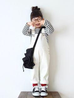 ずっと欲しかった白サロペ♡ やっぱりかわいい (⑅˘͈ ᵕ ˘͈  ) 身長 94cm salope