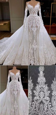 Vintage Long Sleeve Luxury Lace Wedding Dresses with Removable Skirt Long sleeve lace mermaid Simple Elegant Wedding Dress, Lace Wedding Dress With Sleeves, Wedding Dresses With Straps, Lace Mermaid Wedding Dress, Mermaid Dresses, Detachable Skirt Wedding Dress, Backless Wedding, Marie, Long Sleeve