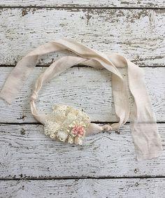 This Beige & Pink Flower Grace Tie-Back Headband is perfect! #zulilyfinds