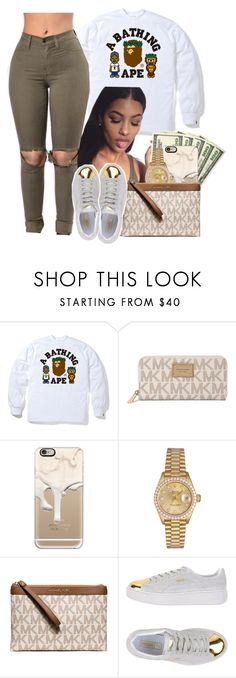 """""""12.23.16"""" by heavensincere ❤ liked on Polyvore featuring A BATHING APE, Michael Kors, Casetify, Rolex, MICHAEL Michael Kors and Puma"""