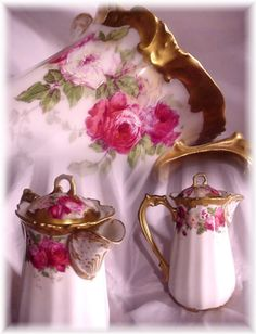ANTIQUE L.R.L. LIMOGES FRANCE CHOCOLATE POT PINK ROSES FANCY GOLD !