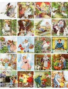 Mother Goose Nursery Rhymes - 2 x 2 Inch Squares (Eulalie illustrations)