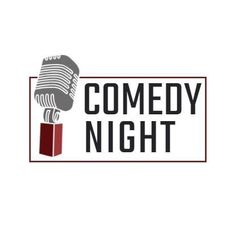 A creative logo for a comedy night gig. A simple background with an illustration of a microphone and 'comedy night' written in black.