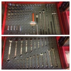Pinner: Made my own shadowed tool box using a hot knife and foam floor mats, a cheaper option and even works better than using tool box foam. Workshop Storage, Home Workshop, Garage Workshop, Tool Storage, Garage Shed, Garage Tools, Garage House, Garage Ideas, Garage Tool Organization