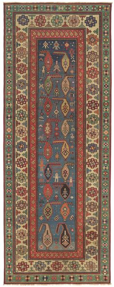 Rare Collectible Antique Carpet - Caucasian Saliani Art Rug, circa 1825 For the narrow kitchen