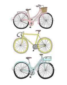 Bicycles Decorative Illustration Art Print by emmakisstina on Etsy