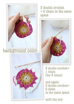 Crochet tutorial: sunburst {in a square} #4