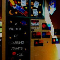 My back to school door--what about-Third graders are out of this world with names on stars or planet shapes? Space Theme Classroom, Stars Classroom, Social Studies Classroom, Classroom Environment, Classroom Decor, Class Decoration, School Decorations, School Themes, Space Bulletin Boards