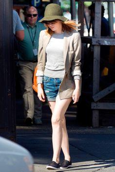 Emma Stone In Cool Denim Cut-Offs