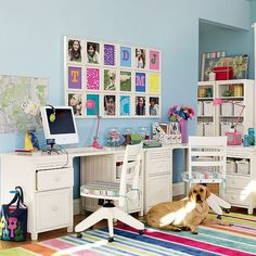 Kids Bedroom, Chic and Cool Kids Study Room Furniture: Colorful Rug With IMac In White Wooden Table Also Chic Pink Table Lamp