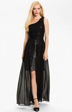 Hailey by Adrianna Papell One Shoulder Chiffon Overlay Gown Bridesmaid Dresses Under 100, Black Prom Dresses, Dress Black, Bridesmaids, Cheap Summer Dresses, Sheer Chiffon, Chiffon Dresses, Barbie Dress, Playing Dress Up