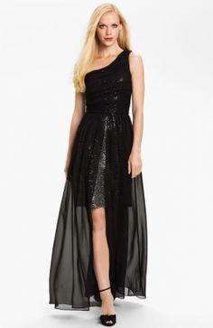 Long One Shoulder Chiffon Black Dress
