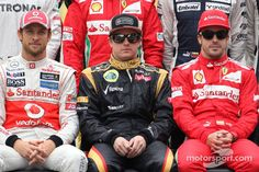 Formula 1 Drivers . Jenson Button, McLaren Mercedes, Kimi Raikkonen, Lotus F1 Team and Fernando Alonso, Scuderia Ferrari