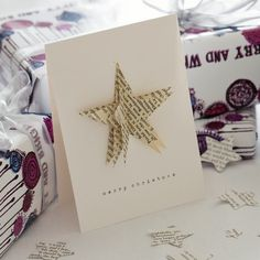 Literary star Christmas card, handmade from vintage Turkish text. Magical Christmas, Christmas 2015, Handmade Christmas, Christmas Crafts, Merry Christmas, Christmas Decorations, Christmas Ornaments, Christmas Ideas, Xmas Cards