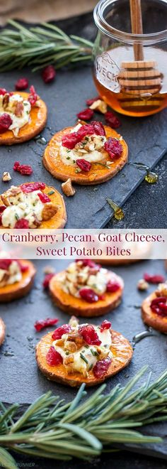 Skip the bread and crackers and trying using roasted sweet potato rounds instead! These Cranberry, Pecan, Goat Cheese, Sweet Potato Bites are the perfect blend of sweet and savory and a wonderful holiday appetizer! Shared by SPCN. Sweet Potatoe Bites, Potato Bites, Sweet Potatoe Appetizer, Sweet Potato Snack, Sweet Potato Crackers Recipe, Sweet Potato Rolls, Sweet Potato Slices, Appetizers For Party, Appetizer Recipes