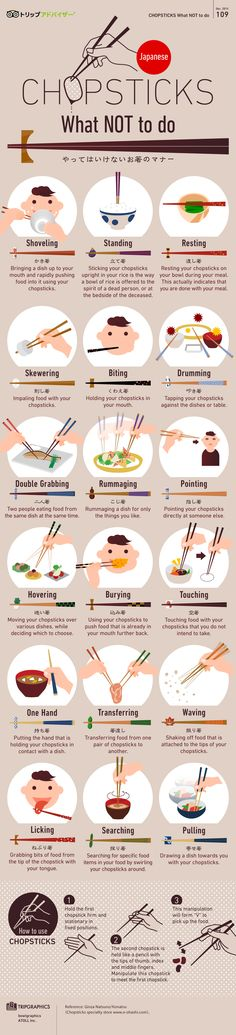 Chopstick etiquette is no joke! Nobody will judge you if you fumble a bit, but the items listed here are definitely faux pas. (Shoveling is expected in Japan; Learn Japanese Words, Japanese Phrases, Japanese Culture, Japanese Food, Study Japanese, Japanese History, Chinese Culture, Japanese Etiquette, Japanese Chopsticks