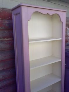Reloved Rubbish: Henrietta Chalk Paint® Bookcase After looking at all those striking deep glossy purple pieces of furniture, this chalk paint pic popped up. I don't know how it will do with the button rug but it the soft matte feel would work well with the other pieces in the room.