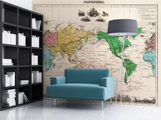 Vintage World Map Wallpaper by DIGETEX HOME