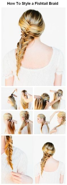 How to style your boring and lifeless hair into awesomely gorgeous hair! -Don How to style your boring and lifeless hair into awesomely gorgeous hair! Fishtail Braid Hairstyles, Braided Hairstyles Tutorials, Diy Hairstyles, Pretty Hairstyles, Wedding Hairstyles, Casual Hairstyles, Wedding Hair Inspiration, Style Inspiration, Beauty Tutorials
