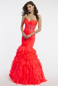 Camille La Vie Tiered Strapless Mermaid Prom Dress with Sweetheart Neckline
