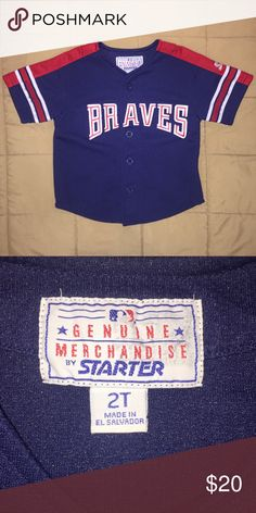 Boys 2T Atlanta Braves button down jersey Excellent condition.  No rips or stains.  Pet and smoke free home.  (!) MLB Shirts & Tops