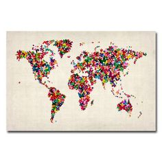 Amazon society6 world map watercolor wall tapestry large 88 x michael tompsett butterflies world map canvas art overstock shopping the gumiabroncs Images