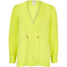 544e1dd3e9946b Bright green button detail blouse