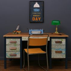 Retro desk with decoupage map of London. Painted using Annie Sloan Aubusson blue chalk paint. Old school chair painted using Arles by Love Restored.