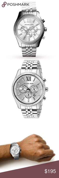 Michael Kors silver lexington chronograph watch Authentic. Brand new with tags, in original Michael Kors box with pillow and authenticity/warranty booklet. This silver stainless steel chronograph watch is technically a men's watch but it is absolutely suitable for a woman as well. Large watch faces are in! I also have this available in gold in a very similar style. Please see the last photo for additional details and features. Michael Kors silver lexington chronograph watch. Michael Kors…