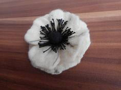 Poppy Felt broochwhite black felt flower by FashionFeltProducts