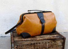 Vintage Distressed Rugged Tan Leather Doctors Bag. $54.00, via Etsy.