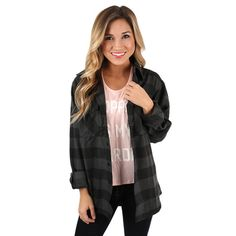 You Always Keep Me Cozy Unisex Flannel Charcoal | Impressions Online Women's Clothing Boutique