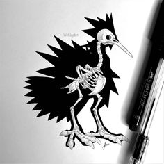 Skeletal Galarian Zapdos by WolfJayden on DeviantArt Drawing Techniques, Drawing Tools, Fossil Pokemon, Pokemon Sketch, Skeleton Drawings, Stippling, Skeletons, Tee Design, Concept Art