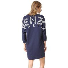 KENZO Kenzo Sweatshirt Dress (£310) ❤ liked on Polyvore featuring dresses, midnight blue, v-neck dresses, oversized dress, midnight blue dress, ribbed dress and rib dress