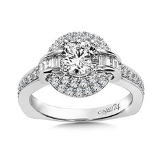 - Diamond Halo Engagement Ring in White Gold with Platinum Head ct. Classic Engagement Rings, Engagement Ring Styles, Halo Diamond Engagement Ring, Engagement Ring Jewelers, Baguette Diamond, Fashion Rings, Round Diamonds, White Gold, Jewels
