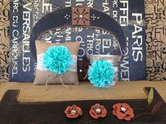 $70 Flower Girl Basket Ring Bearer Pillow Set Shabby Chic by AnnVanity