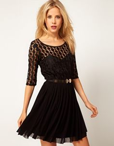 Sexy little black dress with lace and mesh. ASOS Skater Dress In Spot Lace & Mesh Skirt